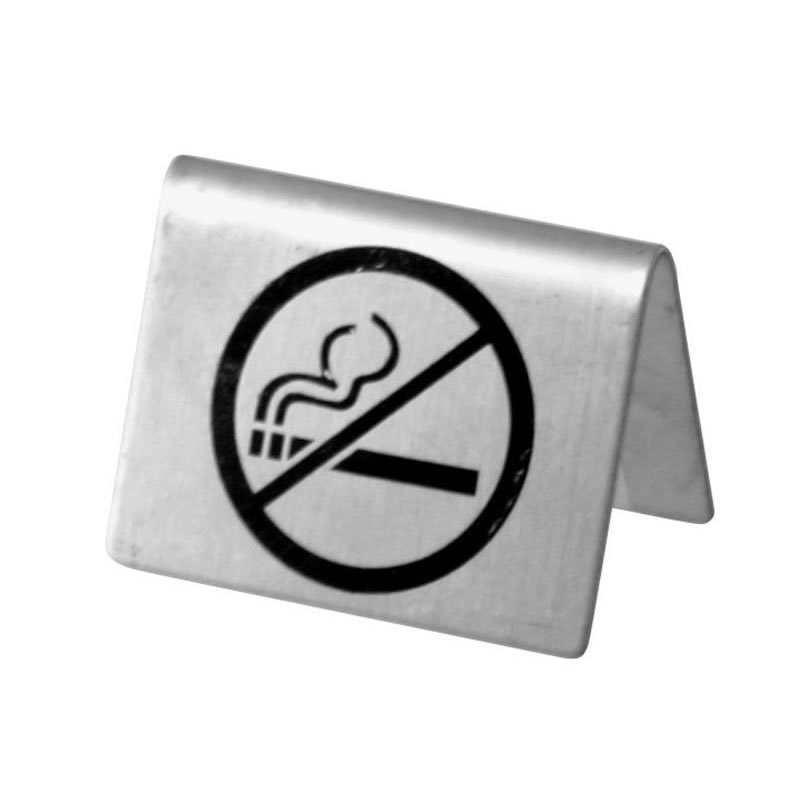 Tent Sign Stainless Steel 'No Smoking'